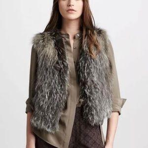 VINCE Cross Fox 100% Authentic Fur Vest Jacket